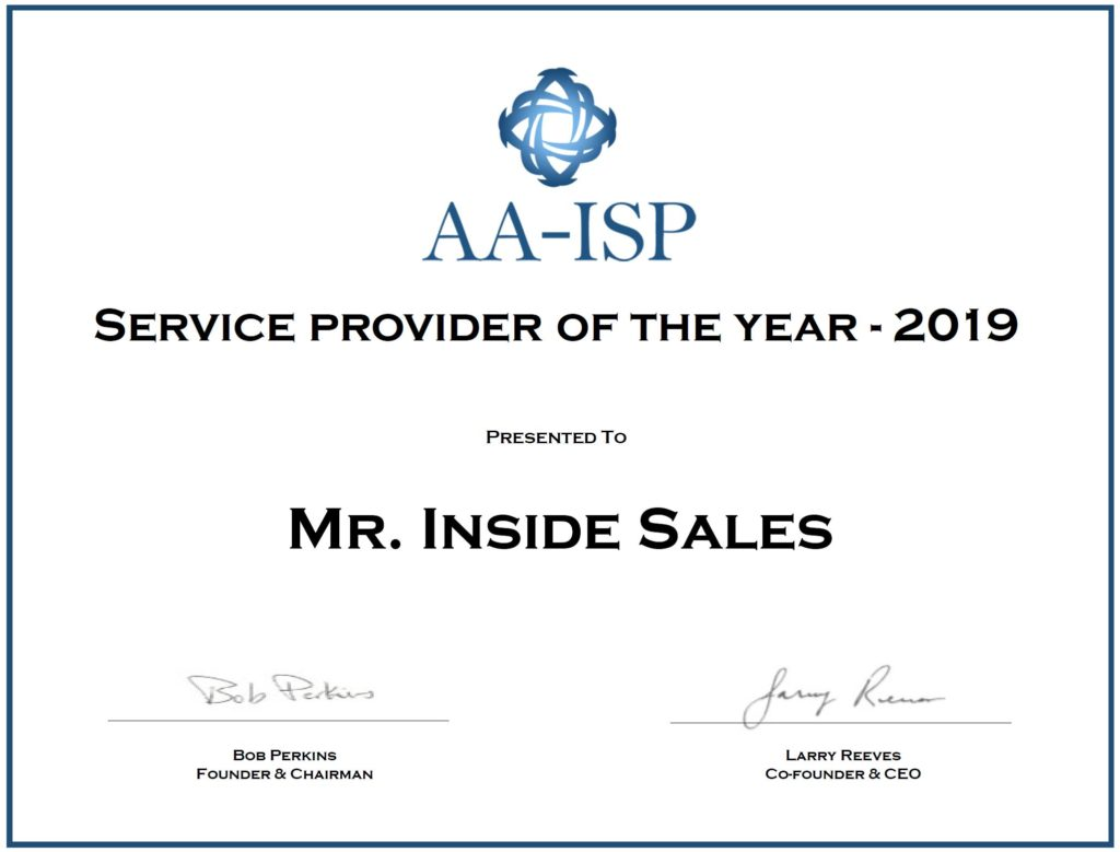 Mr. inside sales award 2019,